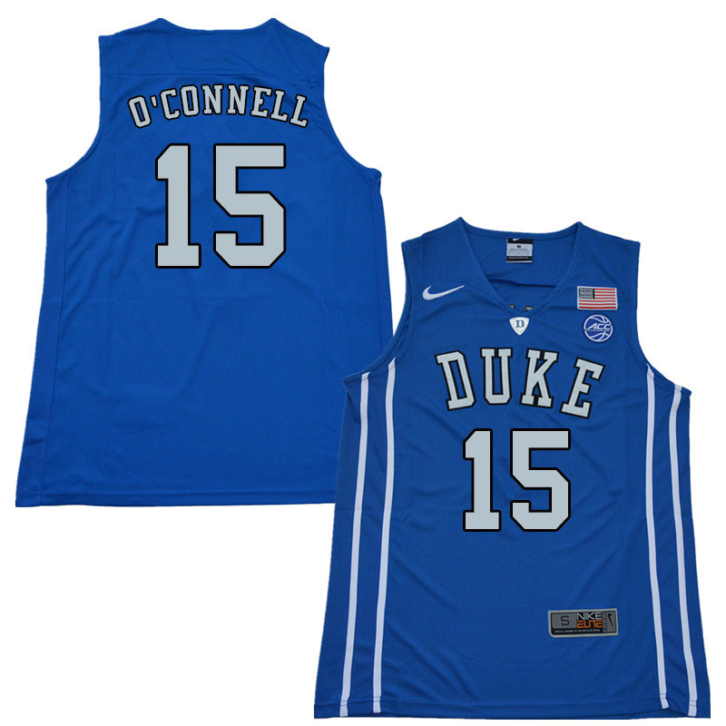 2018 Men #15 Alex O'Connell Duke Blue Devils College Basketball Jerseys Sale-Blue