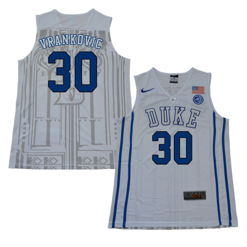 2018 Men #30 Antonio Vrankovic Duke Blue Devils College Basketball Jerseys Sale-White