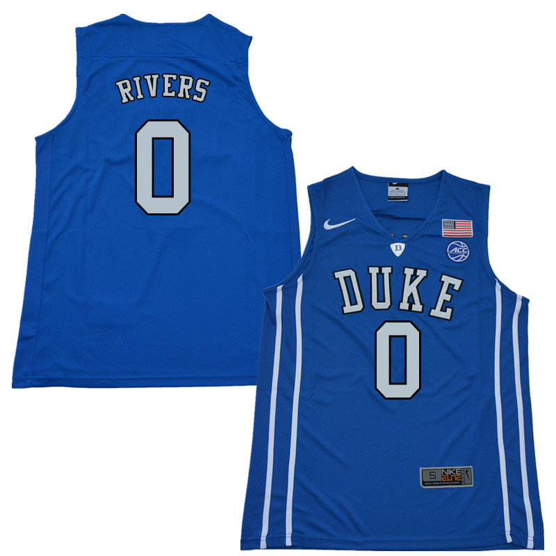 2018 Men #0 Austin Rivers Duke Blue Devils College Basketball Jerseys Sale-Blue