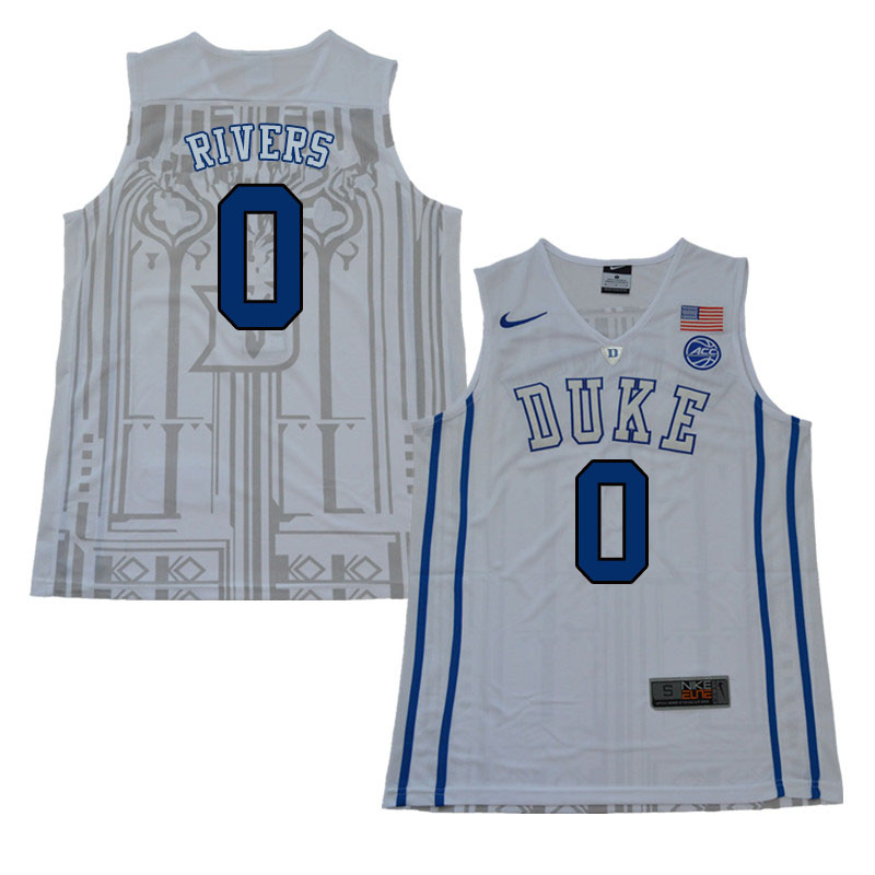 2018 Men #0 Austin Rivers Duke Blue Devils College Basketball Jerseys Sale-White