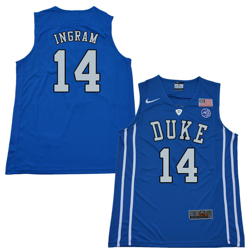 2018 Men #14 Brandon Ingram Duke Blue Devils College Basketball Jerseys Sale-Blue