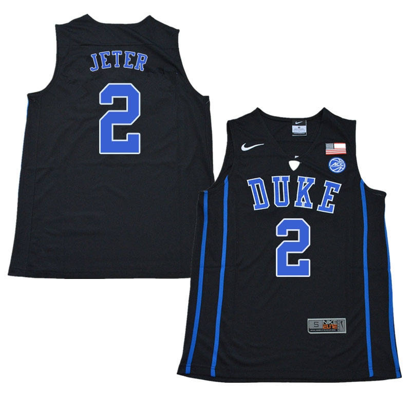 2018 Men #2 Chase Jeter Duke Blue Devils College Basketball Jerseys Sale-Black