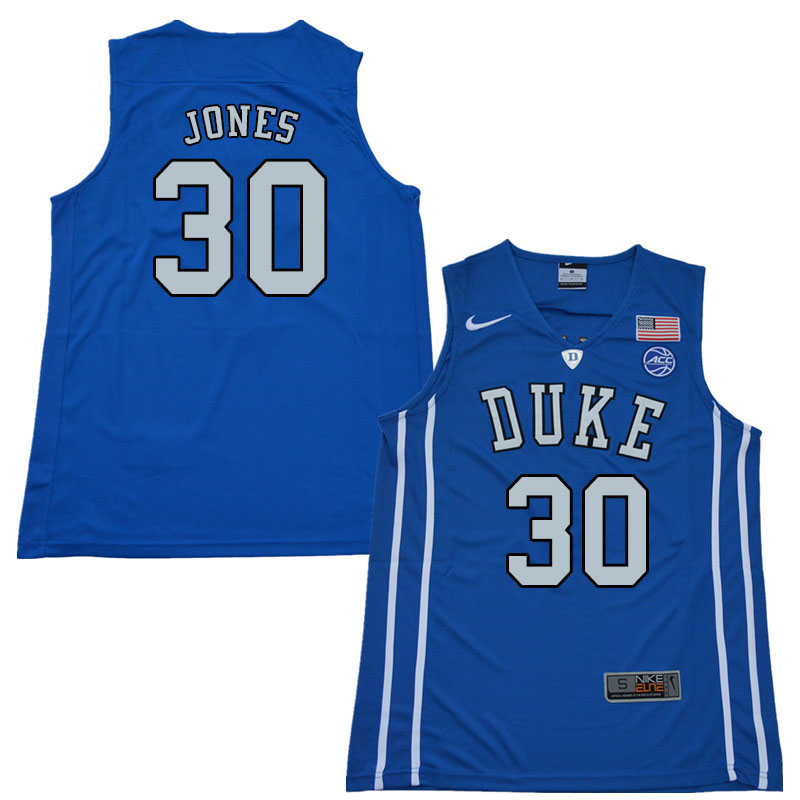 2018 Men #30 Dahntay Jones Duke Blue Devils College Basketball Jerseys Sale-Blue
