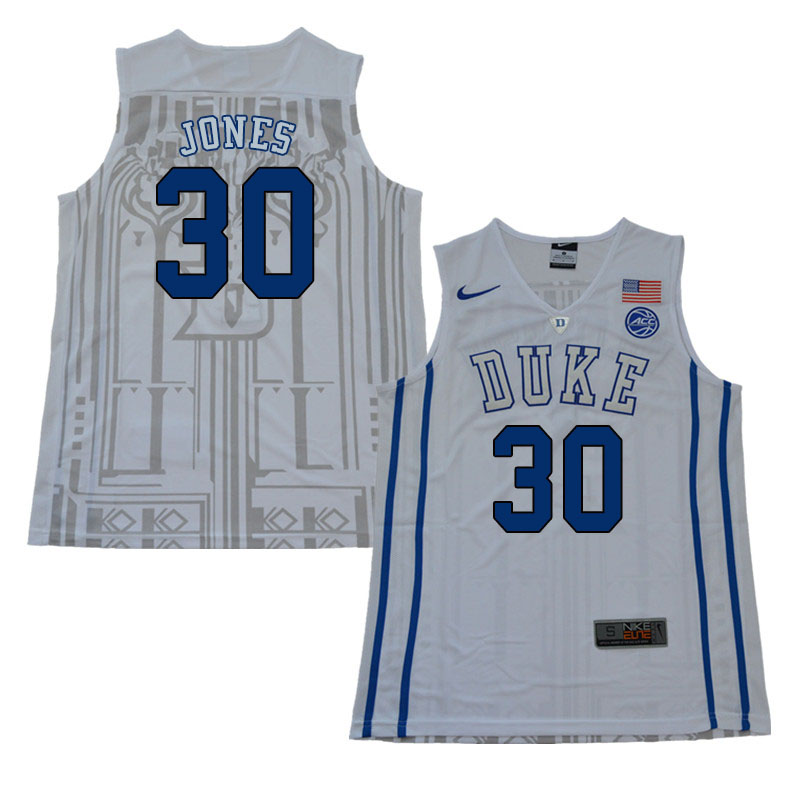 2018 Men #30 Dahntay Jones Duke Blue Devils College Basketball Jerseys Sale-White