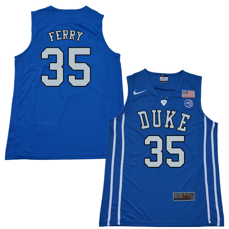 2018 Men #35 Danny Ferry Duke Blue Devils College Basketball Jerseys Sale-Blue