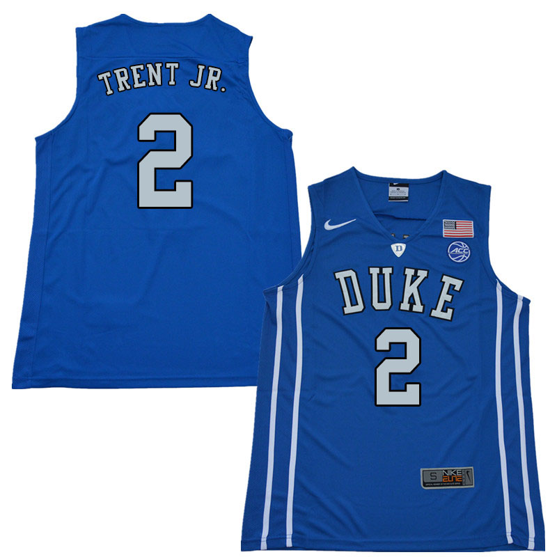 2018 Men #2 Gary Trent Jr. Duke Blue Devils College Basketball Jerseys Sale-Blue