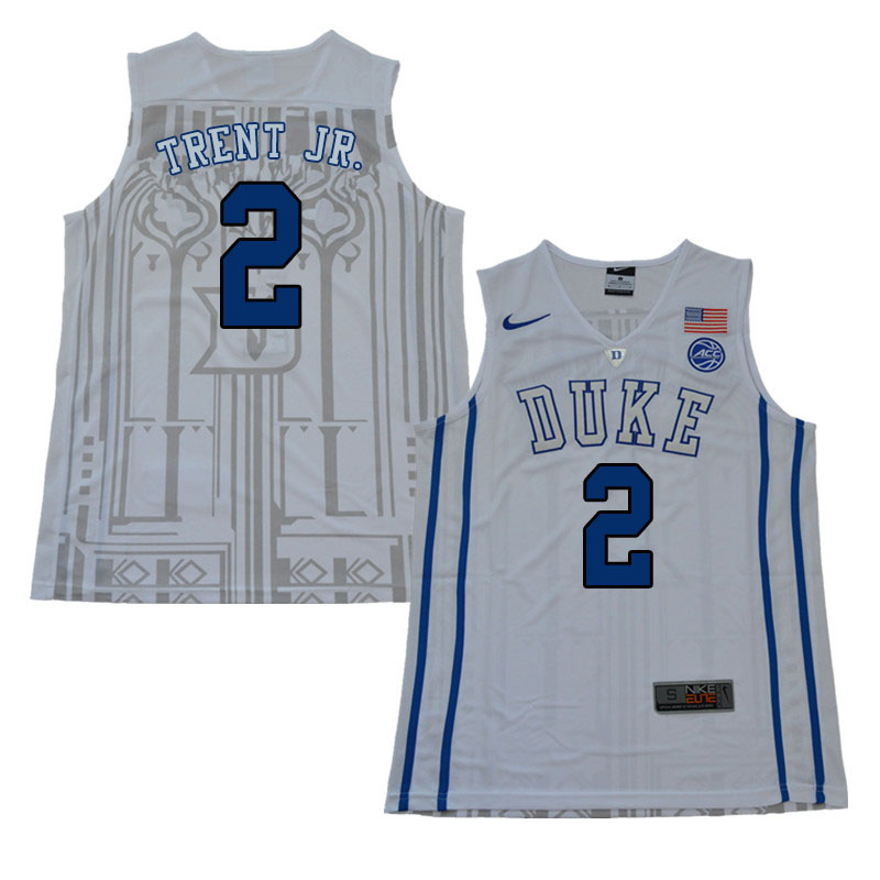 2018 Men #2 Gary Trent Jr. Duke Blue Devils College Basketball Jerseys Sale-White