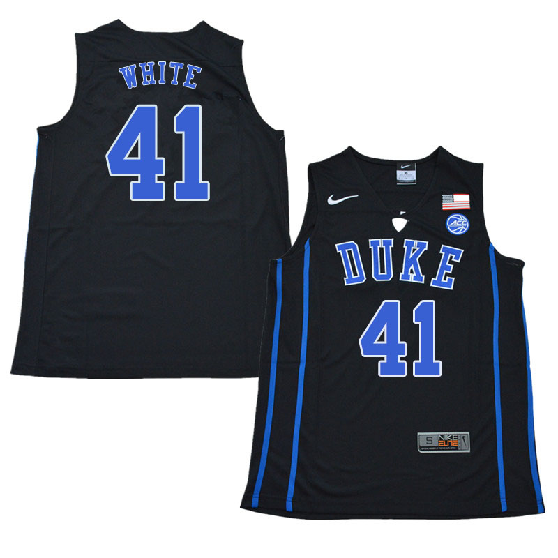 2018 Men #41 Jack White Duke Blue Devils College Basketball Jerseys Sale-Black