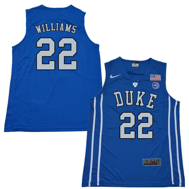 2018 Men #22 Jason Williams Duke Blue Devils College Basketball Jerseys Sale-Blue