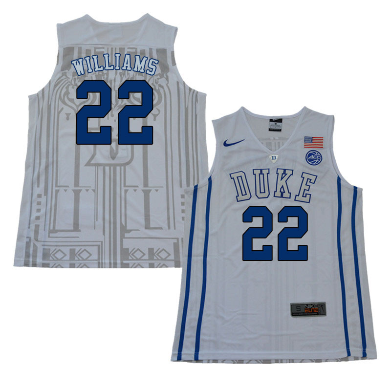 2018 Men #22 Jason Williams Duke Blue Devils College Basketball Jerseys Sale-White