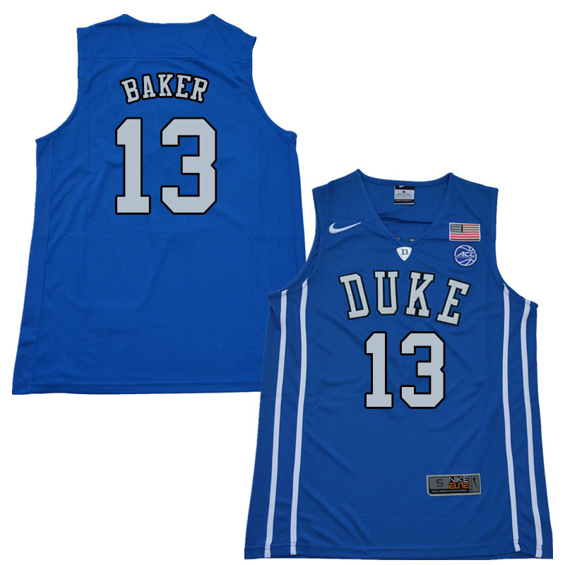 2018 Men #13 Joey Baker Duke Blue Devils College Basketball Jerseys Sale-Blue