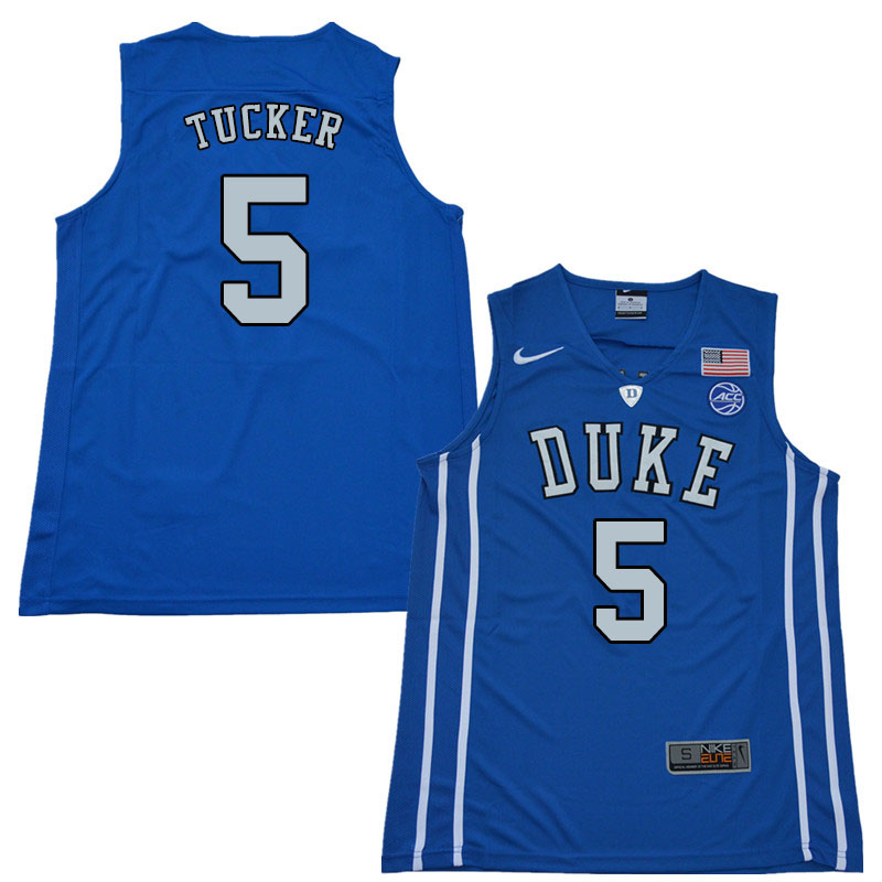 2018 Men #5 Jordan Tucker Duke Blue Devils College Basketball Jerseys Sale-Blue