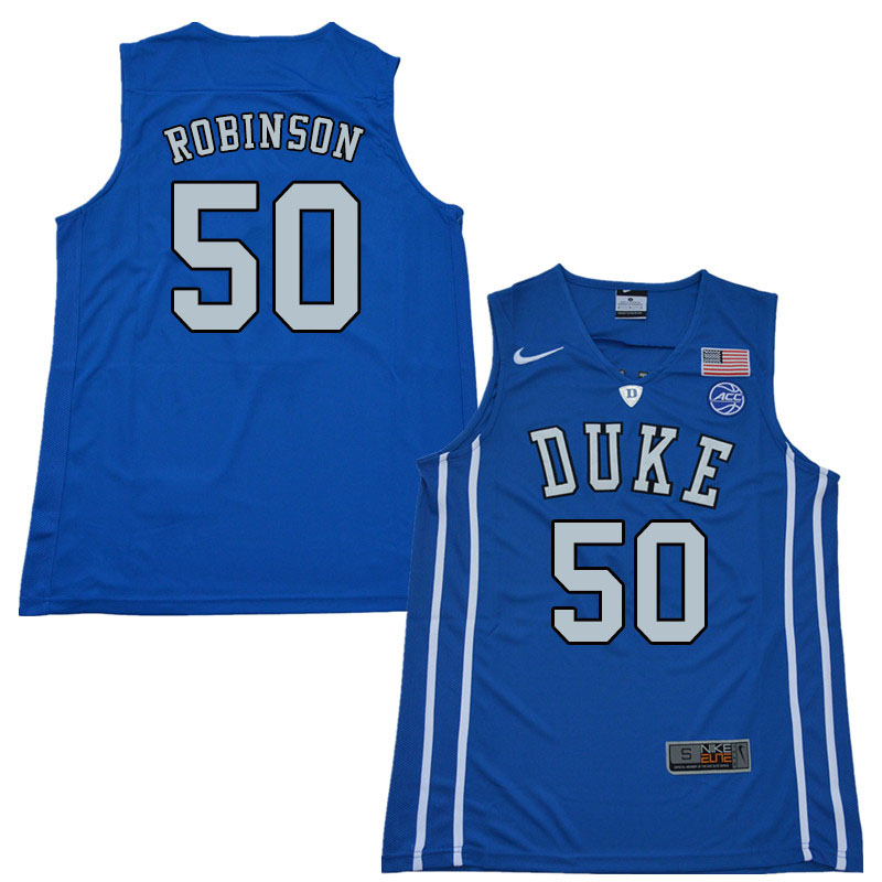 2018 Men #50 Justin Robinson Duke Blue Devils College Basketball Jerseys Sale-Blue