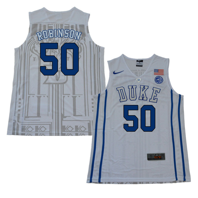 2018 Men #50 Justin Robinson Duke Blue Devils College Basketball Jerseys Sale-White