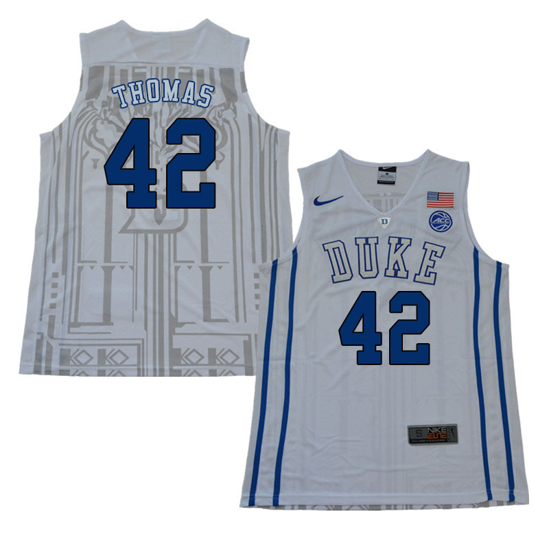 2018 Men #42 Lance Thomas Duke Blue Devils College Basketball Jerseys Sale-White
