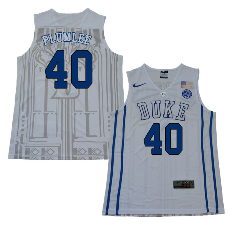 2018 Men #40 Marshall Plumlee Duke Blue Devils College Basketball Jerseys Sale-White