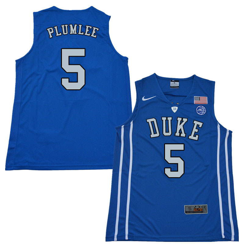 2018 Men #5 Mason Plumlee Duke Blue Devils College Basketball Jerseys Sale-Blue