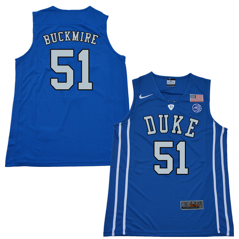 2018 Men #51 Mike Buckmire Duke Blue Devils College Basketball Jerseys Sale-Blue