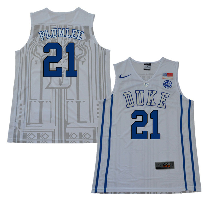 2018 Men #21 Miles Plumlee Duke Blue Devils College Basketball Jerseys Sale-White
