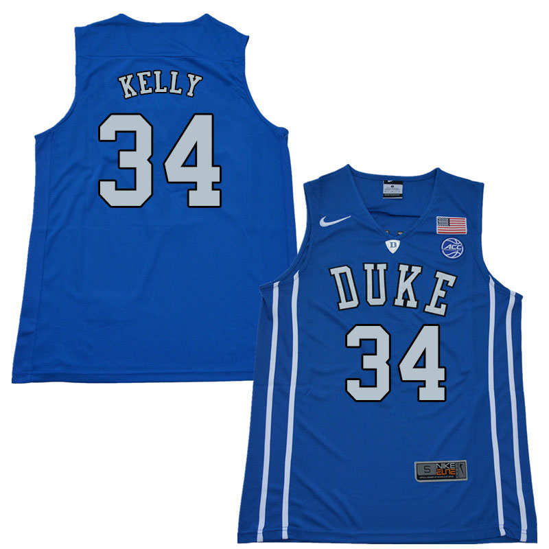 2018 Men #34 Ryan Kelly Duke Blue Devils College Basketball Jerseys Sale-Blue