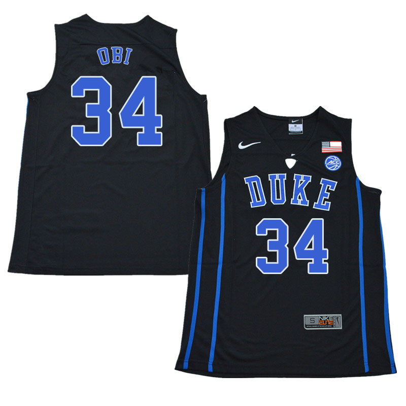 2018 Men #34 Sean Obi Duke Blue Devils College Basketball Jerseys Sale-Black