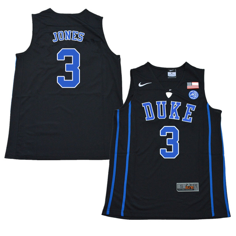2018 Men #3 Tre Jones Duke Blue Devils College Basketball Jerseys Sale-Black