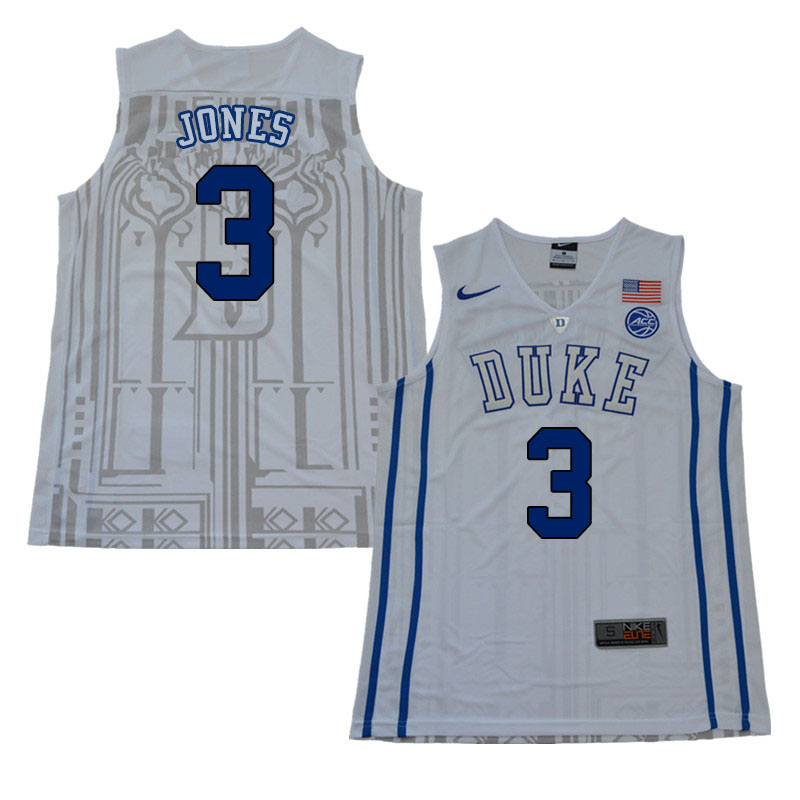 2018 Men #3 Tre Jones Duke Blue Devils College Basketball Jerseys Sale-White