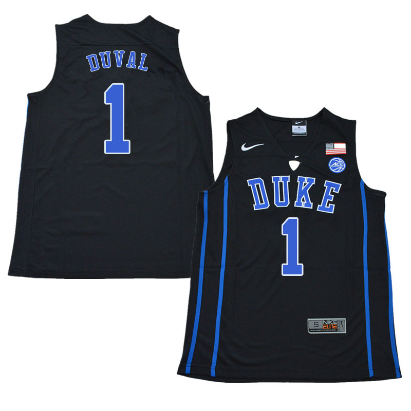 2018 Men #1 Trevon Duval Duke Blue Devils College Basketball Jerseys Sale-Black