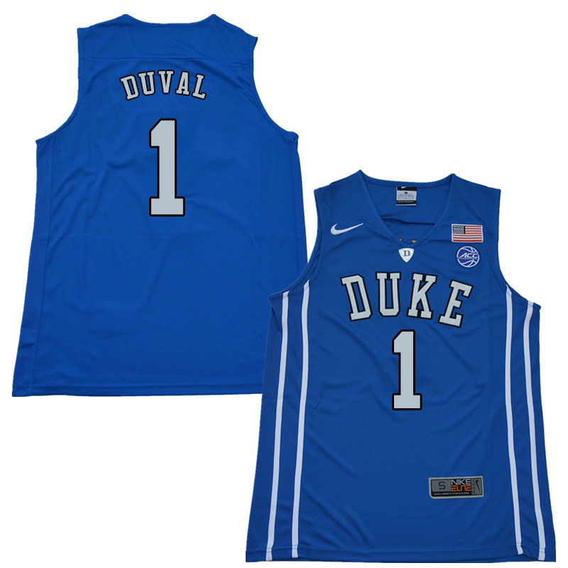 2018 Men #1 Trevon Duval Duke Blue Devils College Basketball Jerseys Sale-Blue
