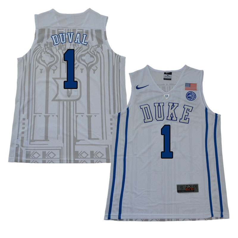 2018 Men #1 Trevon Duval Duke Blue Devils College Basketball Jerseys Sale-White