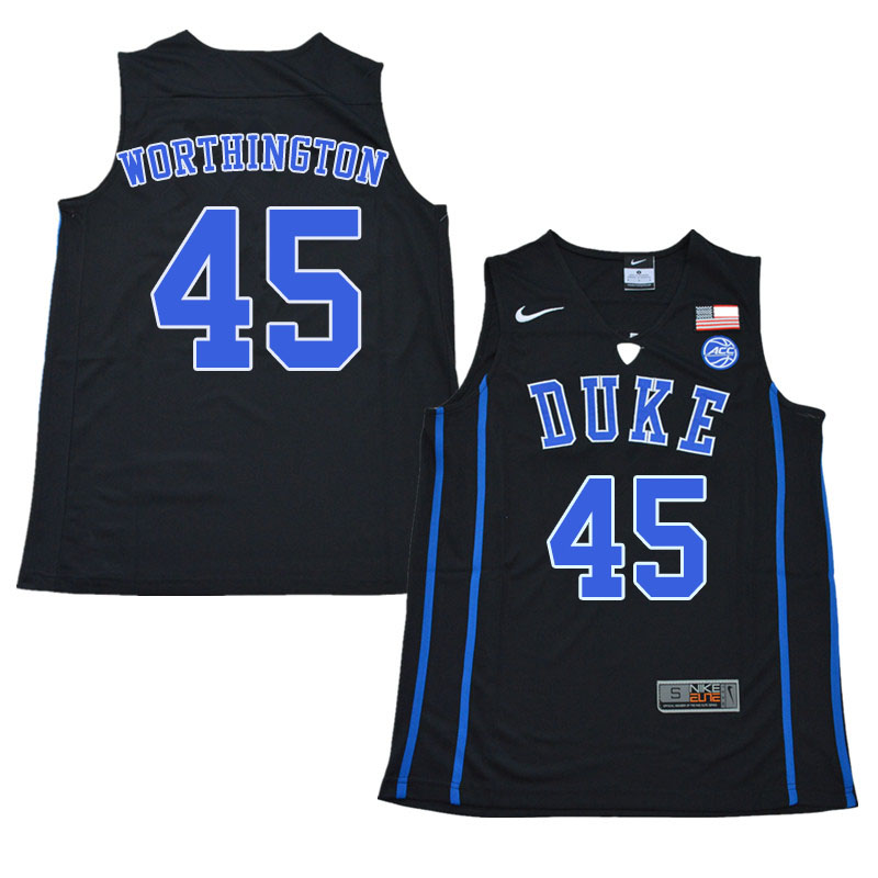 Men #45 Keenan Worthington Duke Blue Devils College Basketball Jerseys Sale-Black
