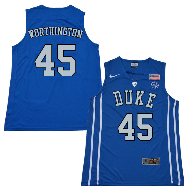 Men #45 Keenan Worthington Duke Blue Devils College Basketball Jerseys Sale-Blue