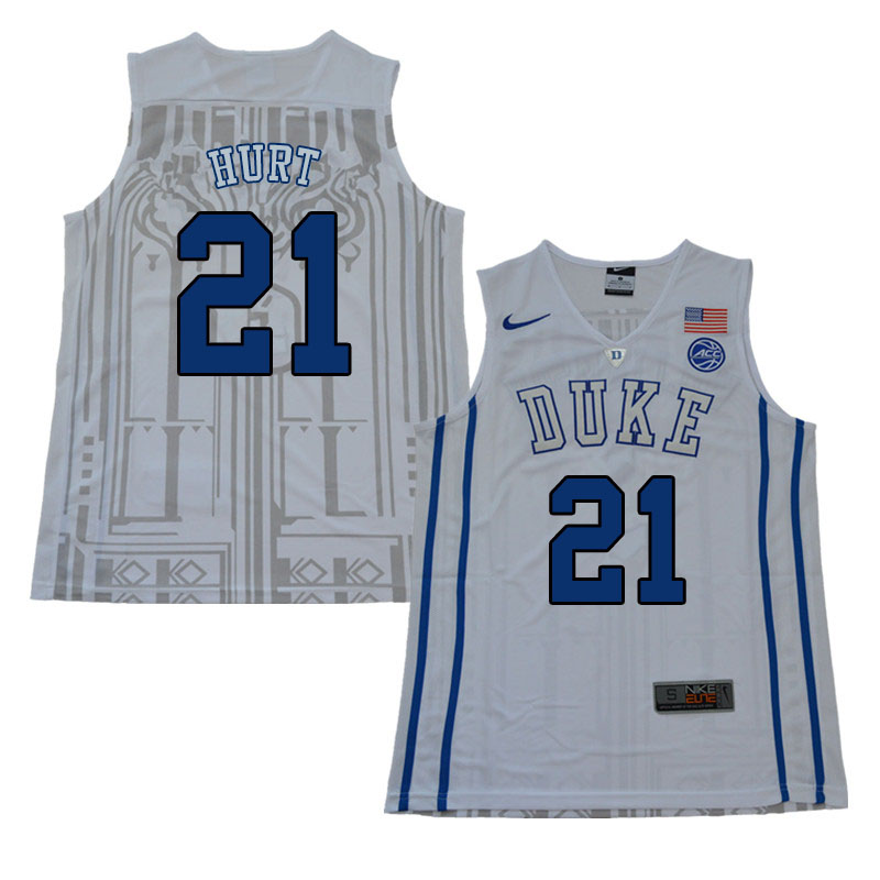 Men #21 Matthew Hurt Duke Blue Devils College Basketball Jerseys Sale-White
