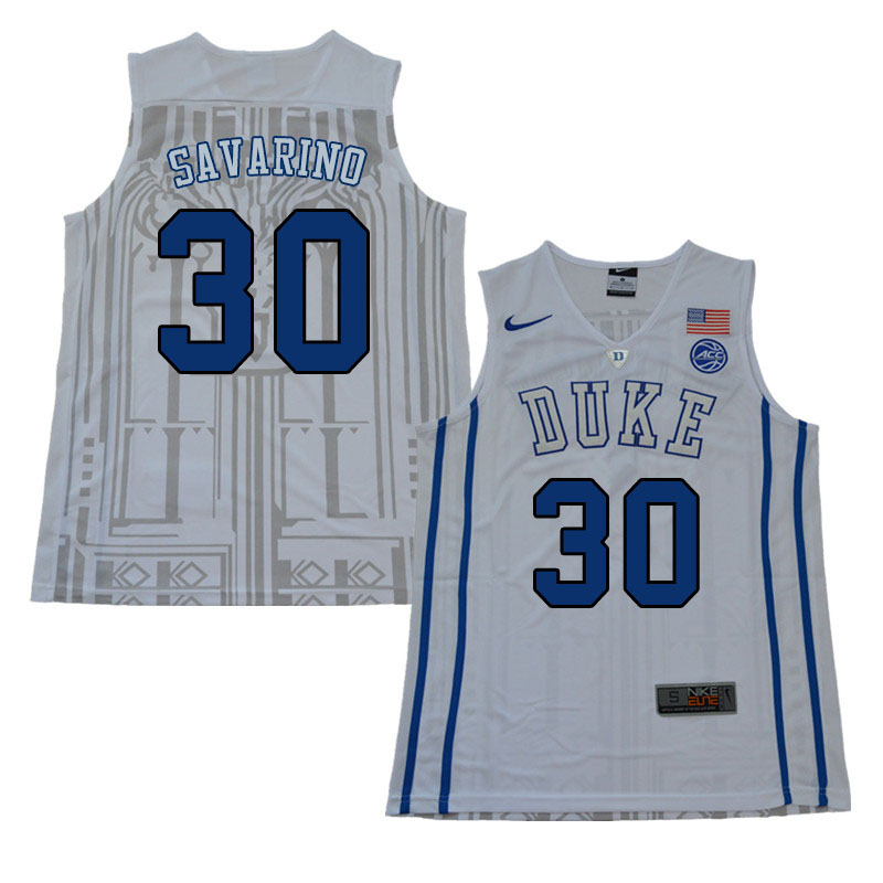 Men #30 Michael Savarino Duke Blue Devils College Basketball Jerseys Sale-White