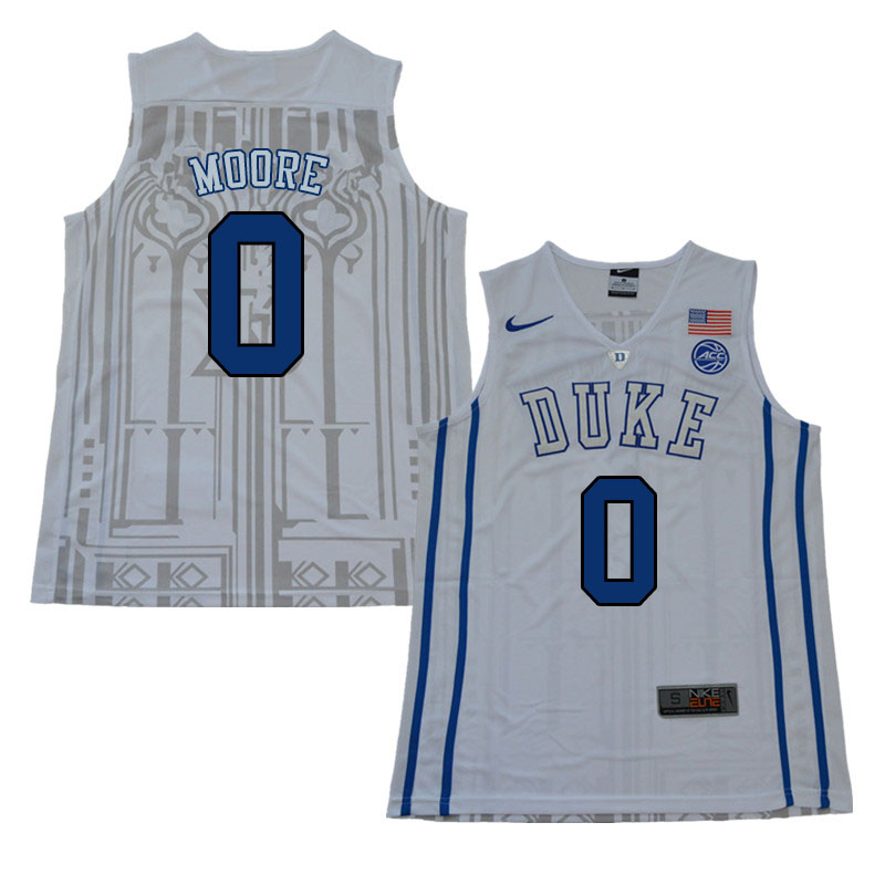 Men #0 Wendell Moore Duke Blue Devils College Basketball Jerseys Sale-White
