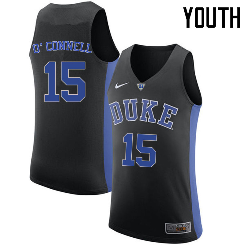 Youth Duke Blue Devils #15 Alex O'Connell College Basketball Jerseys Sale-Black