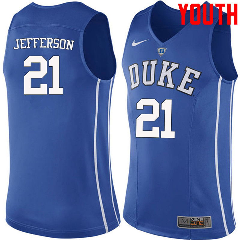Youth #21 Amile Jefferson Duke Blue Devils College Basketball Jerseys-Blue