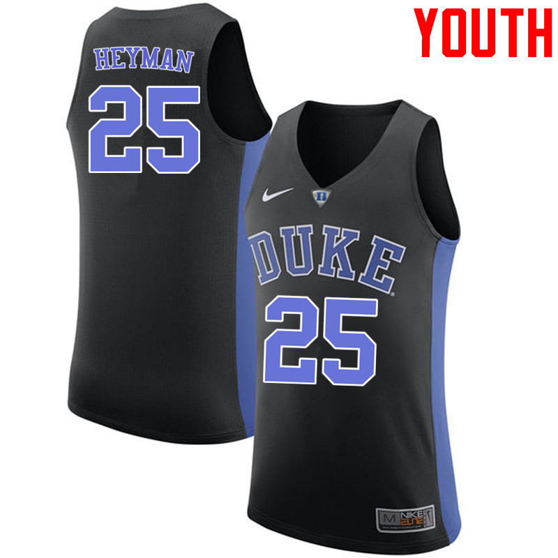Youth #25 Art Heyman Duke Blue Devils College Basketball Jerseys-Black
