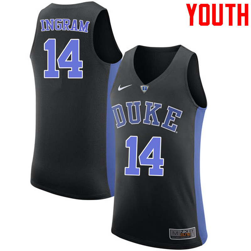 Youth #14 Brandon Ingram Duke Blue Devils College Basketball Jerseys-Black