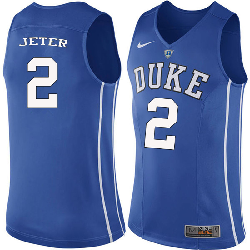 Men #2 Chase Jeter Duke Blue Devils College Basketball Jerseys-Blue
