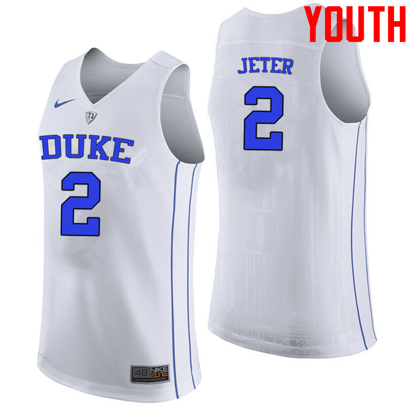 Youth #2 Chase Jeter Duke Blue Devils College Basketball Jerseys-White