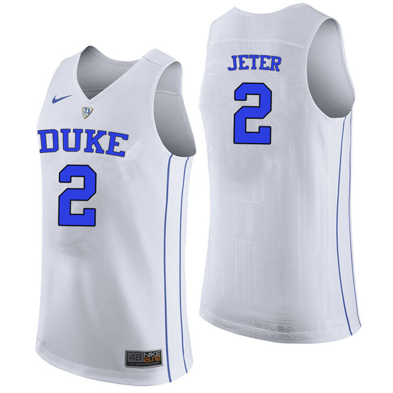 Men #2 Chase Jeter Duke Blue Devils College Basketball Jerseys-White