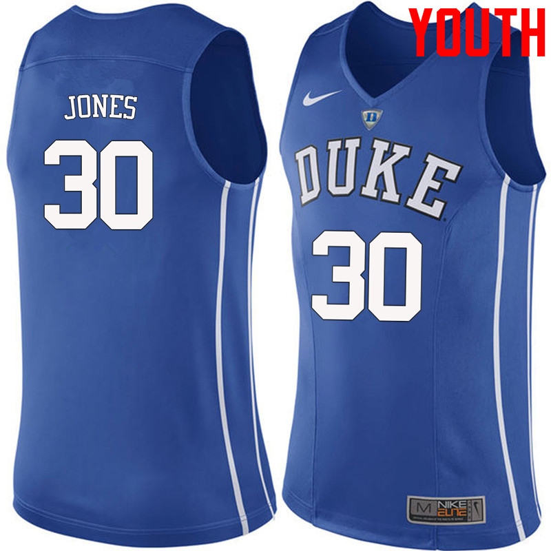 Youth #30 Dahntay Jones Duke Blue Devils College Basketball Jerseys-Blue