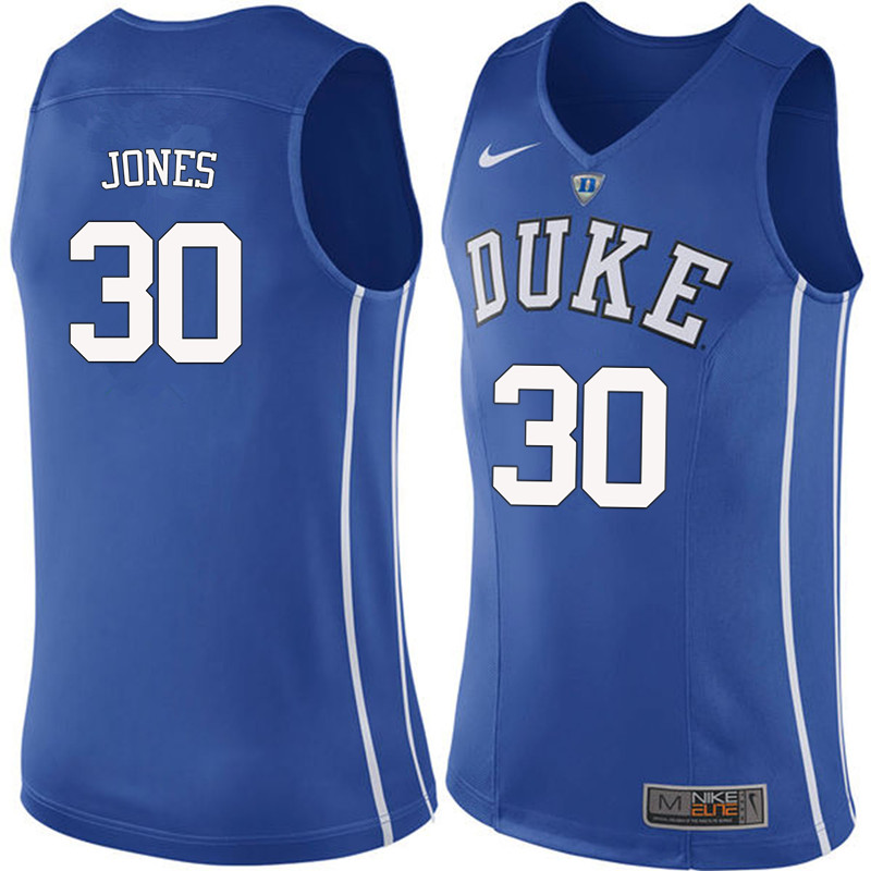 Men #30 Dahntay Jones Duke Blue Devils College Basketball Jerseys-Blue