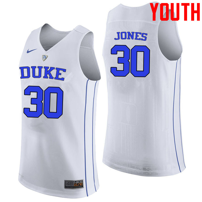 Youth #30 Dahntay Jones Duke Blue Devils College Basketball Jerseys-White