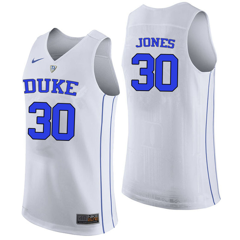 Men #30 Dahntay Jones Duke Blue Devils College Basketball Jerseys-White