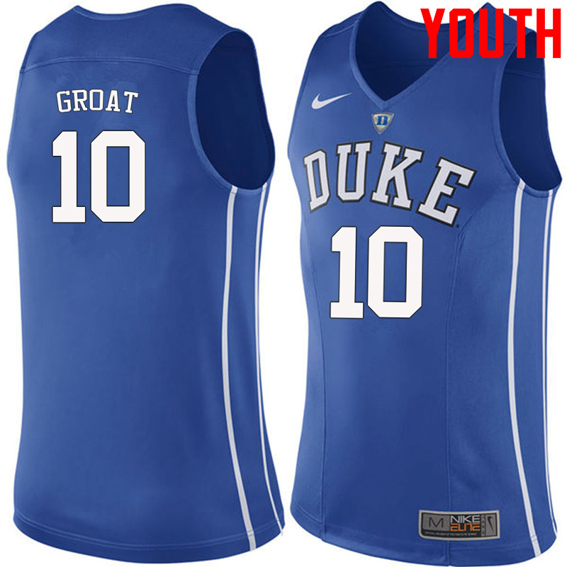 Youth #10 Dick Groat Duke Blue Devils College Basketball Jerseys-Blue
