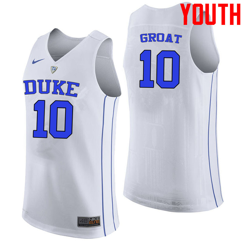 Youth #10 Dick Groat Duke Blue Devils College Basketball Jerseys-White