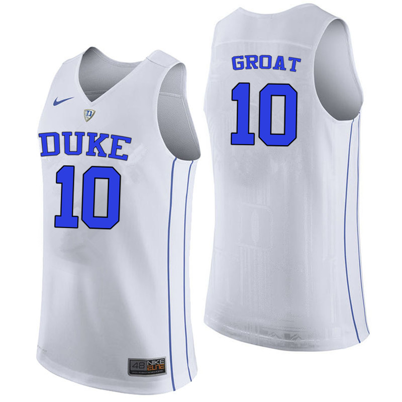 Men #10 Dick Groat Duke Blue Devils College Basketball Jerseys-White