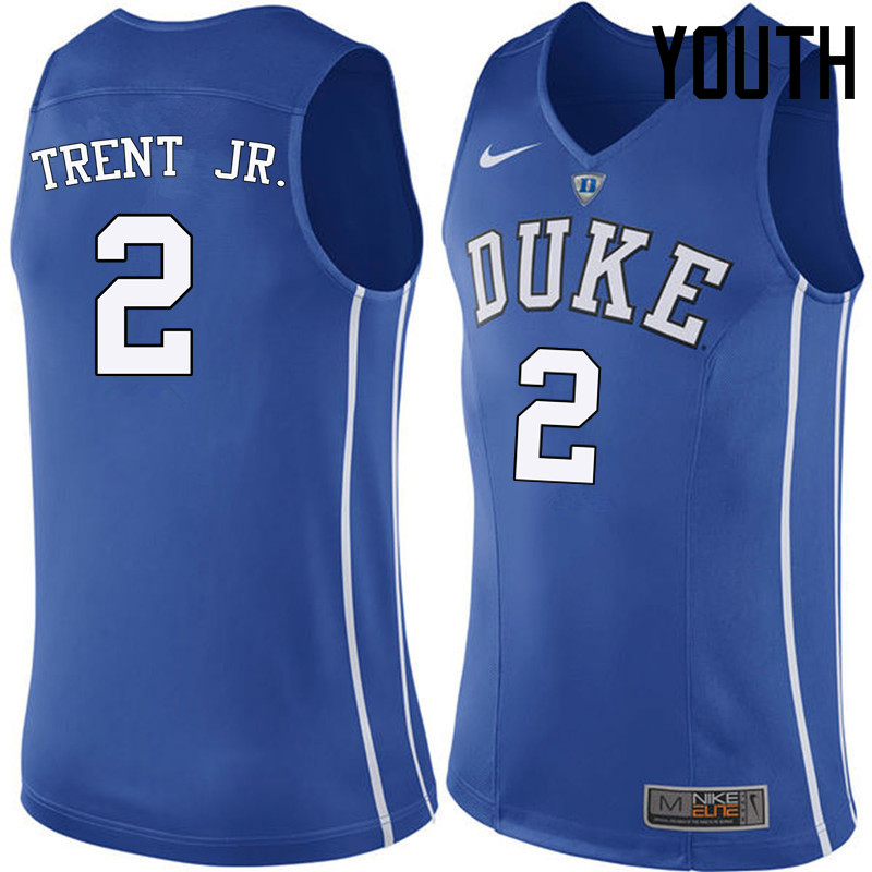 Youth Duke Blue Devils #2 Gary Trent Jr. College Basketball Jerseys Sale-Blue